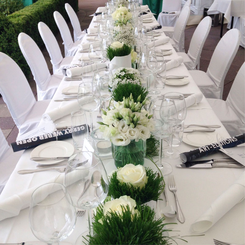Tischdekoration anlässlich des Sponsorenessens während der Gerry Weber Open